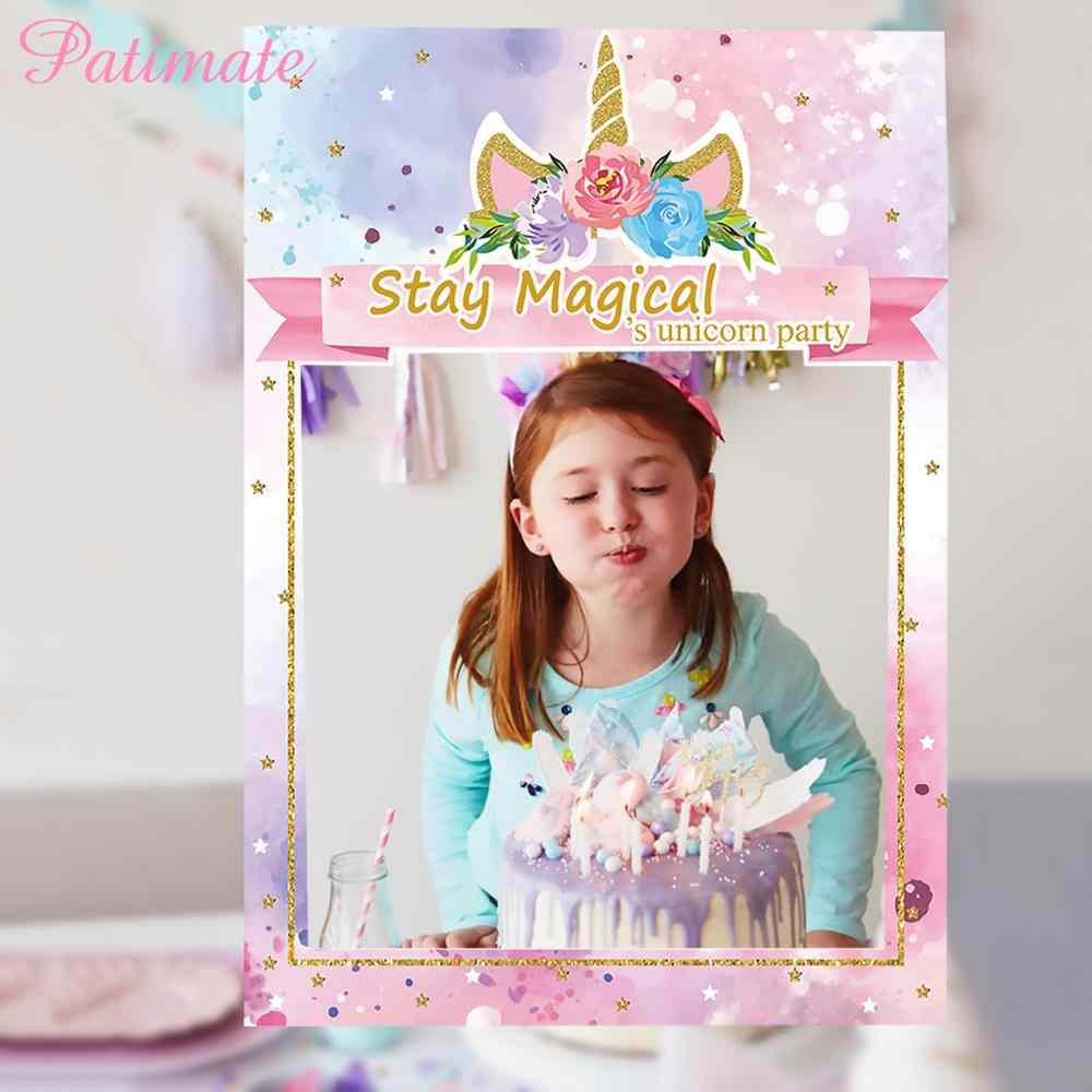 PATIMATE Unicorn Mermaid Flamingo Photo Booth Frame Birthday Party  Photobooth Props Baby Shower Unicorn Party Decorations