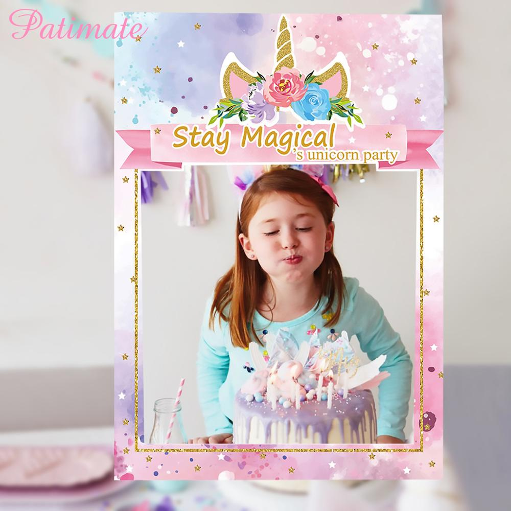 PATIMATE Unicorn Photo Booth Frame New Year Photo Pooth Bride To Be Photobooth Props Baby Shower Wedding Photo Decoration