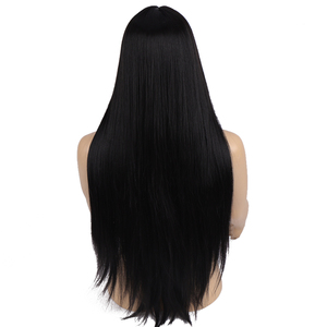 Image 3 - MUMUPI 26inch Black Color Long Silky Straight Hair Wig Gluless Heat Resistant Natural Middle Part Synthetic Wig for Black Women