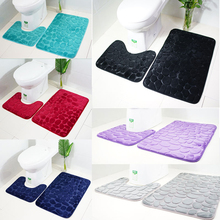 2pcs/set Soft Bath Mats Floor Carpet 3D Cobblestone Bathroom Rug and Mat Set Non-slip Toilet Anti-skild Room Supplies