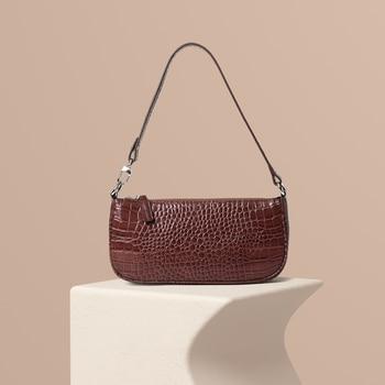2020 New Baguette Bag for Women Genuine Leather Retro Crocodile Pattern Shoulder Bag Sac Main Femme