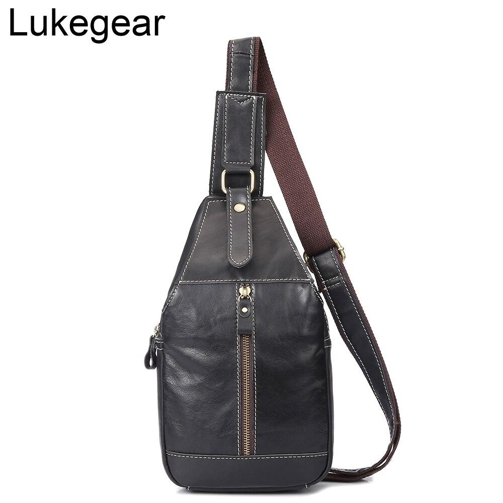 Lukegear Genuine Leather Fanny Pack Men Black Color Solid Waist Bags Fashion Belt Chest Bag Durable
