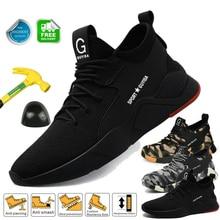 Güvenlik iş ayakkabısı erkek spor ayakkabı ile çelik burun kamuflaj yıkılmaz ayakkabıları hafif nefes iş çizmeleri