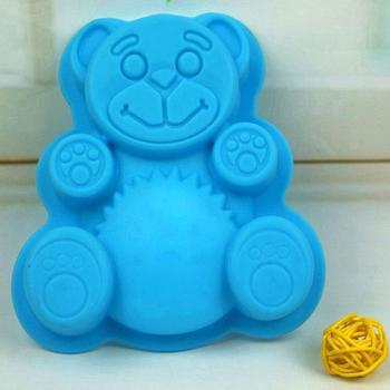 Molde de silicona con forma de oso, herramientas para decorar pasteles, bandeja para galletas de bricolaje, cortador de gelatina, troquel de corte 3D, pastel de cocina para hornear, Color al azar