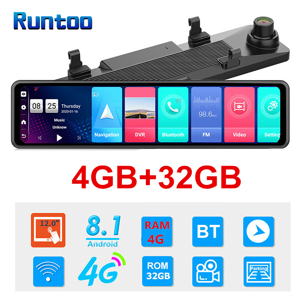 Car DVR HD 1080P 12 Inch 4G Android Rearview Mirror GPS WIFI ADAS Dash Cam 4G+32G Dual Lens Recorder Auto Camera Registrar DVRs