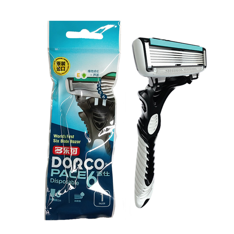 High Quality Original DORCO Razor Machine Shaver Pace6-Layer BladeStainless Steel Safety Razor For Men 1 Handle 1 Blade