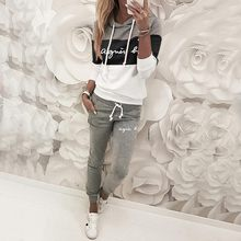 Women Track suit Brand Print Pullover Hoodie Sweatshirts And Long Pant Fashion Two Piece Sets Ladies Lace Up Sweatshirt Suits