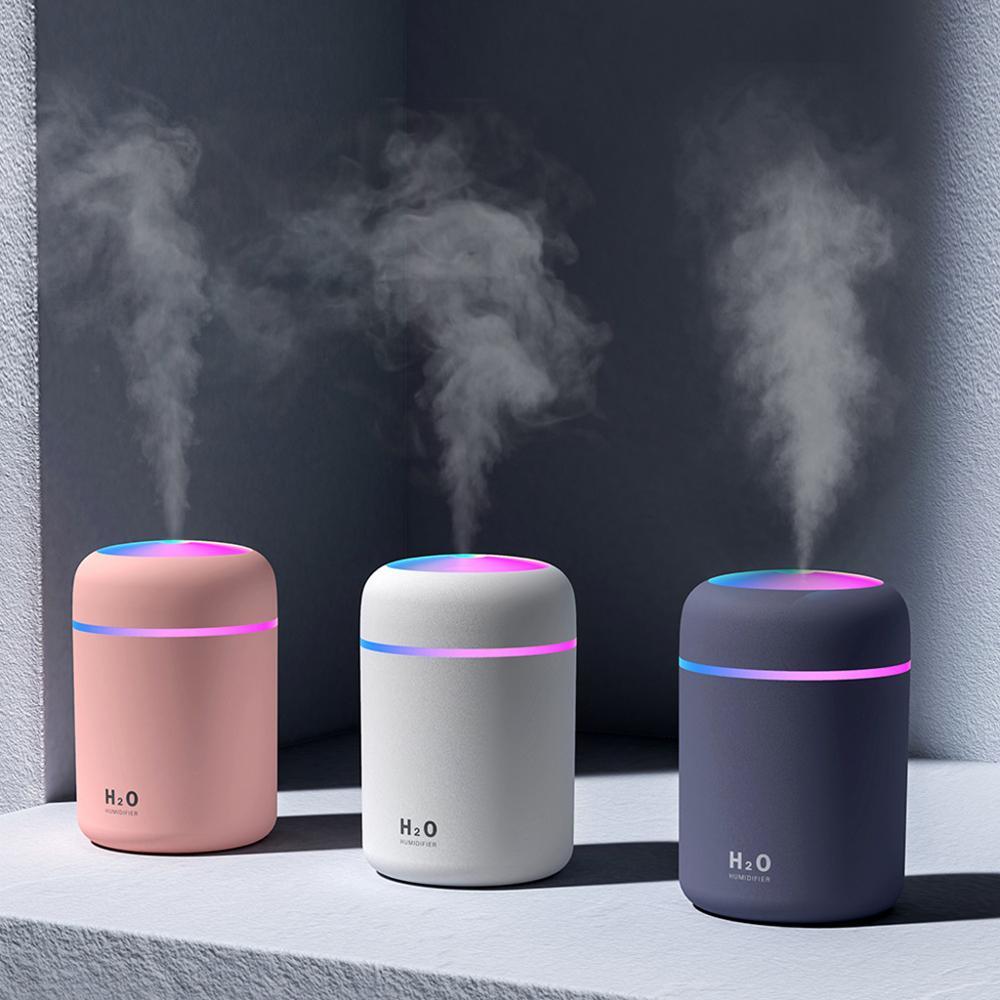Портативный Электрический увлажнитель воздуха 300 мл, аромадиффузор с USB, распылитель холодного тумана с красосветильник ночником для дома и...