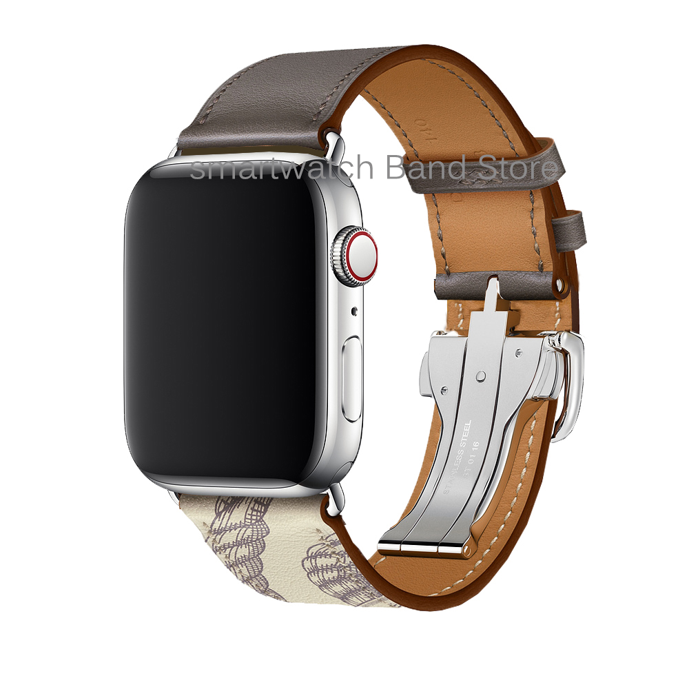 Clearance SaleBuckle-Band Bracelet Strap Watchbands Logo Apple Metal Herm 44mm Genuine-Leather