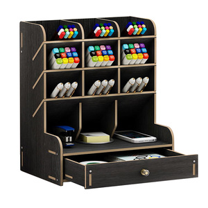 Large capacity wooden pen holder storage box fashion creative multi-frame pen holder DIY storage rack stationery office supplies