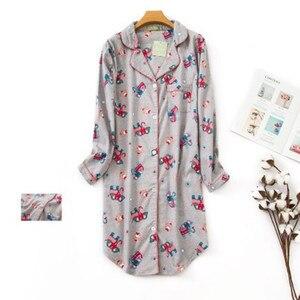 Image 4 - Женская длинная пижама из чистого хлопка, в клетку, большого размера, 2020