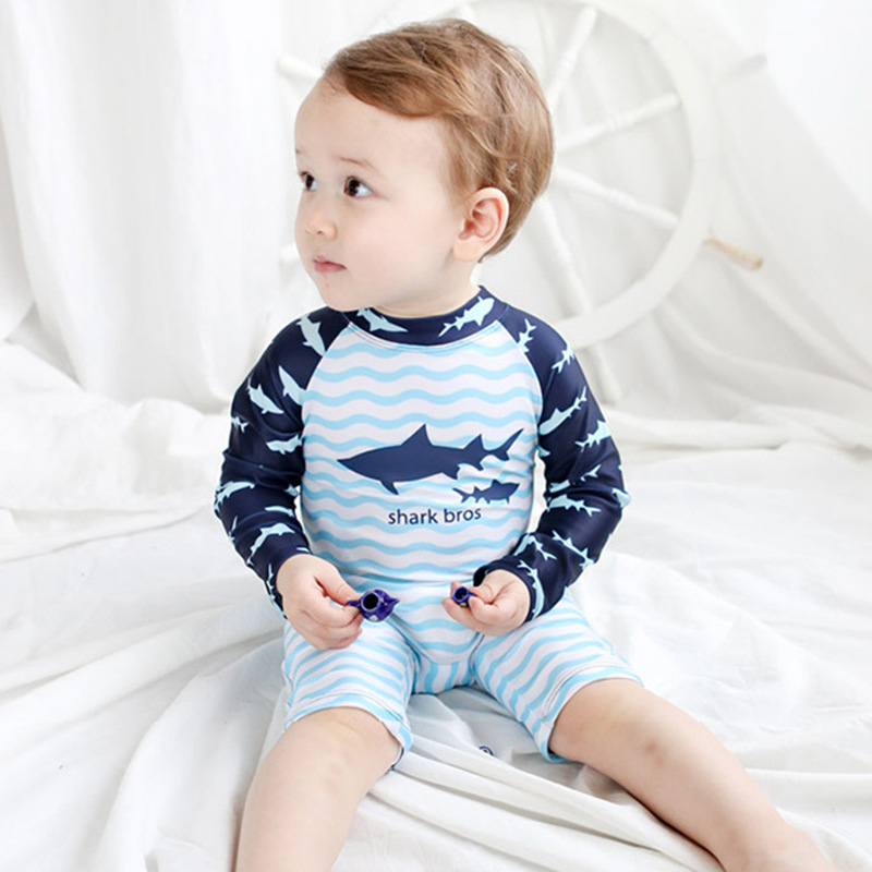 South Korea New Style KID'S Swimwear BOY'S Seaside Baby Infant Siamese Swimsuit Pool Beach Shorts Holiday Hot Springs