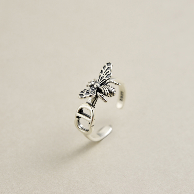 Bee-Rings 925-Sterling-Silver Resizable-Design Jewelry Gifts Girls New Open Cute Women