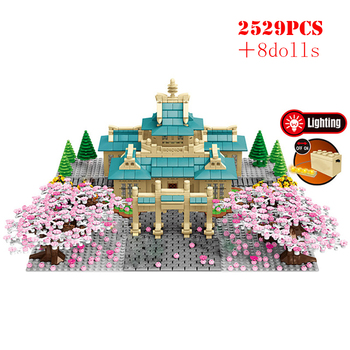 2529PCS City Street View Tree House Flower Building Blocks Cherry Blossom Season Architecture Technic Bricks Toys For Children
