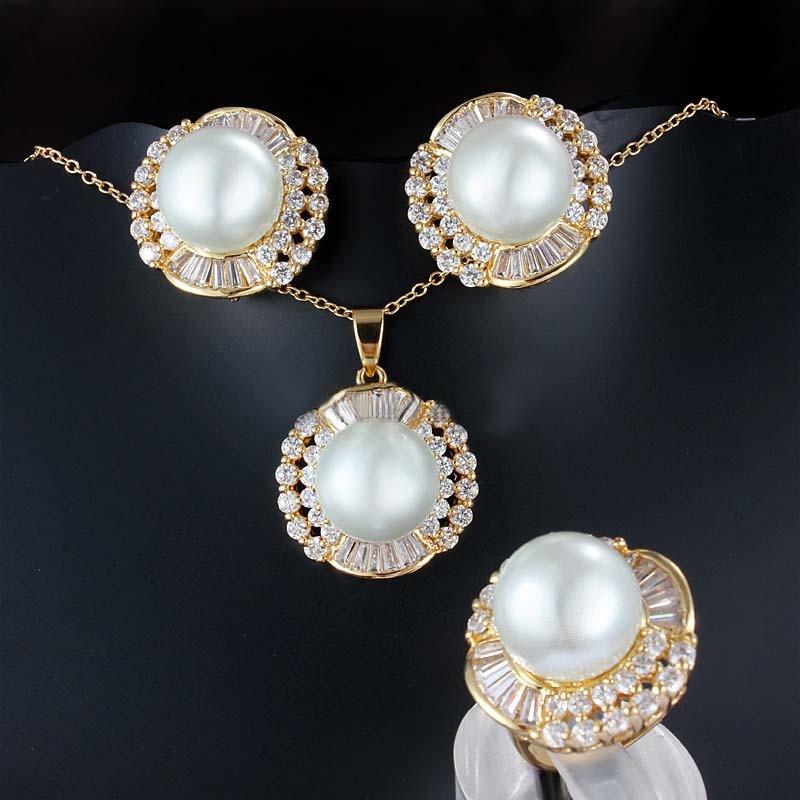 Meselected 3pc luxe perle Zircon or Dangle collier boucles d'oreilles anneau bijoux ensemble pour les femmes mariée africaine fête de mariage ornement