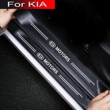 For kia sportage sorento picanto 4 2017 optima soul cerato stinger RIO 4pcs car door sticker sill plate carbon fiber leather