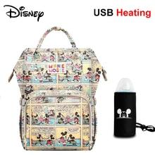 Disney o dużej pojemności USB pielucha wodoodporna torby Oxford tkaniny torby izolacyjne karmienie butelką worek do przechowywania mumia plecak podróżny