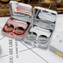 Lens Container Marble Mirror Cover Soaking Contact Case Travel Holder with mini makeup mirrors