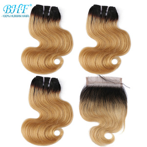 Image 2 - BHF 100% 인간의 머리카락 바디 웨이브 3pcs 로트 브라질 레미 50 그램/갑/팩 헤어 익스텐션 짧은 밥 가발 스타일