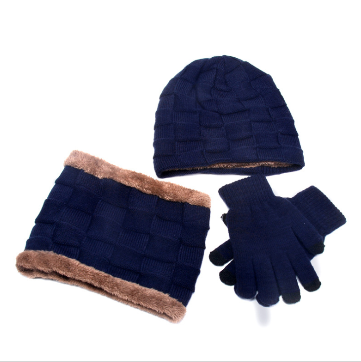 DIHOPE Winter Beanie Hat For Men Women Hat Scarf Warm Scarf Hat Gloves Set Male Female Hat Scarf Set 3 Pcs Skullies Beanies