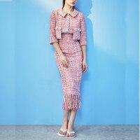2019 Autumn Winter New Tweed Pink Color Plaid 2 Piece Suit Women Two Pocket Short Jacket +Tassel High Waist Half Skirt Set