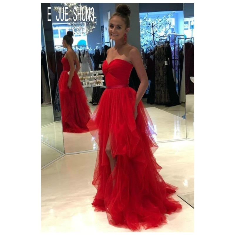 E JUE SHUNG Red Sleeveless Wedding Dresses Sweetheart  Backless High Split Wedding Bridal Gowns Ruffle Tulle Vestido De Noiva