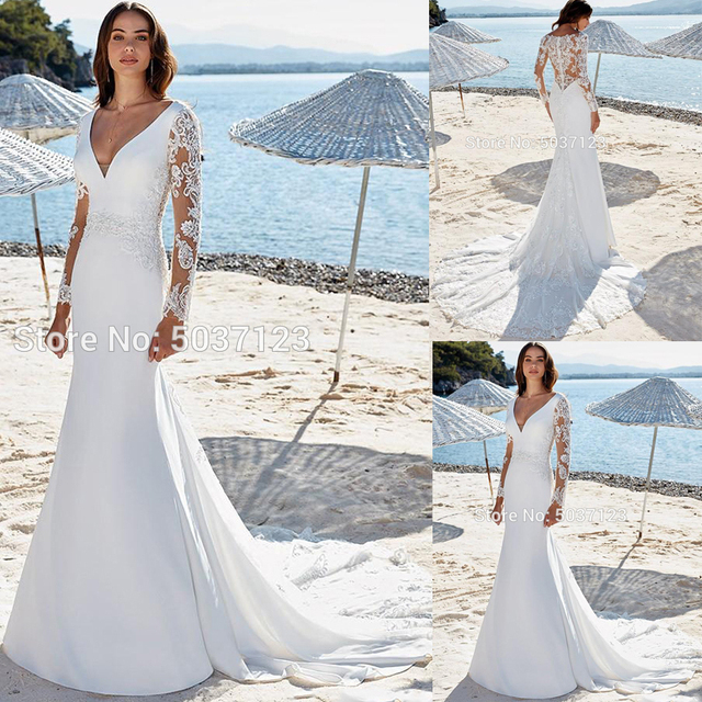 ลึก V คอชุดเดรสเมอร์เมดแขนยาวลูกไม้ Appliques ปุ่มกลับ PLUS ขนาด Vestido De Novias Gowns แต่งงานเจ้าสาว