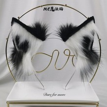 Wolf Ear Handmade Simulation Lolita Beast Ear Cos Wolf Ear Side Clip KC Beast Tail Black and White Cat Ear Plush Ear(China)
