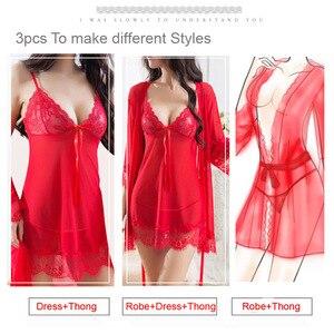 Image 2 - Ensemble pyjama Sexy 4 pièces pour femmes, chemise de nuit Chic en dentelle, vêtements de nuit pour poupées, vêtements de nuit + Robe de nuit + string + ceinture, vêtements de nuit