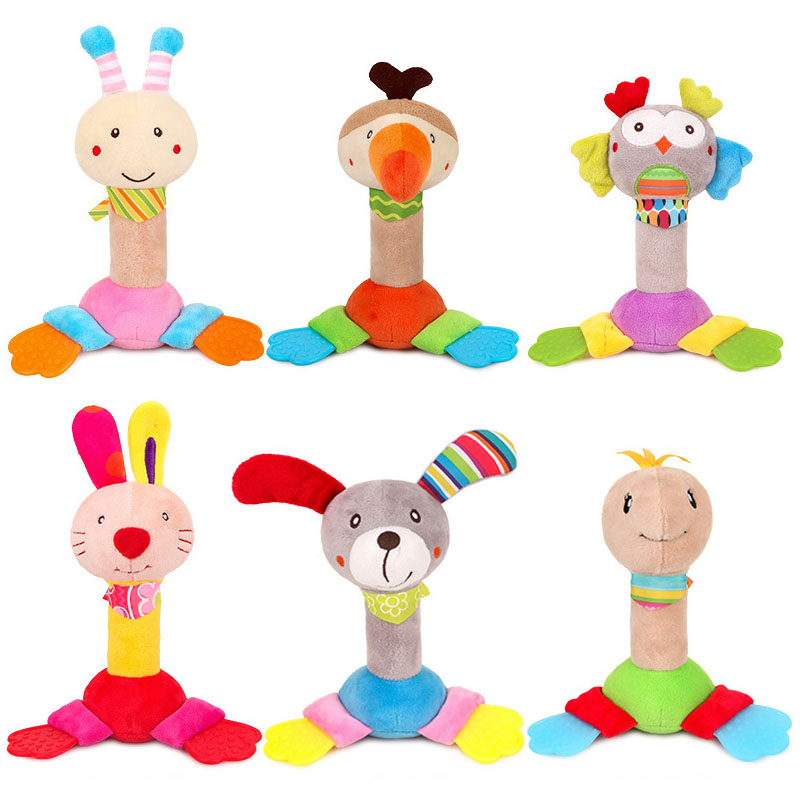 Animal Baby Rattles Handshake BB Stick Baby Toys Built-in Bell With Teether Hand Ringing Plush Newborn Hand Rattle Kids Toy