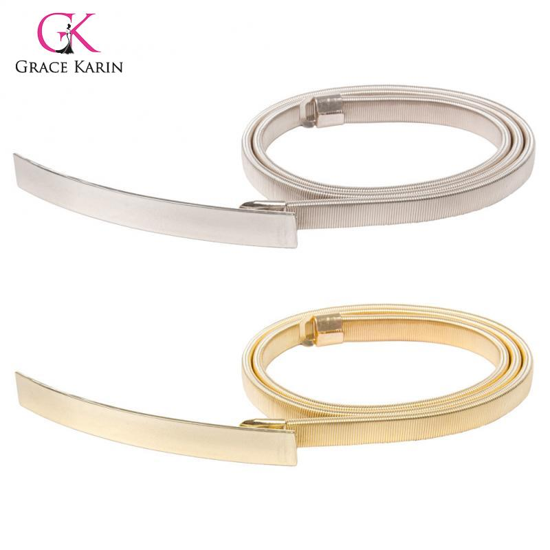 Women Alloy Belt Ladies Girls  Skinny Punk Elastic Belt Waistband For Dress Fashion Gold /Silver Jeans Accessories