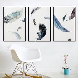 Североевропейский стиль, декоративная живопись, гостиная, современные минималистические картины, перо, абстрактная креативная роспись