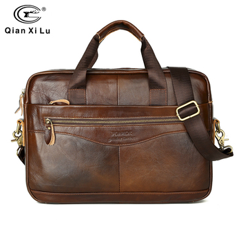 Genuine Leather Men Laptop Bag Fashion Business Briefcase Handbags Men Cow Leather Bags Travel Shoulder Bag Messenger Tote Bags