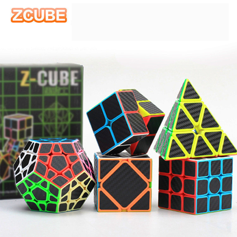 5pcs/set Z Cube Carbon Fiber Speed Cube Bundle Pyramid Dodecahedron 3x3 Skew Square-1 2x2 Magic Cube Set Puzzle Magic Cube Toys
