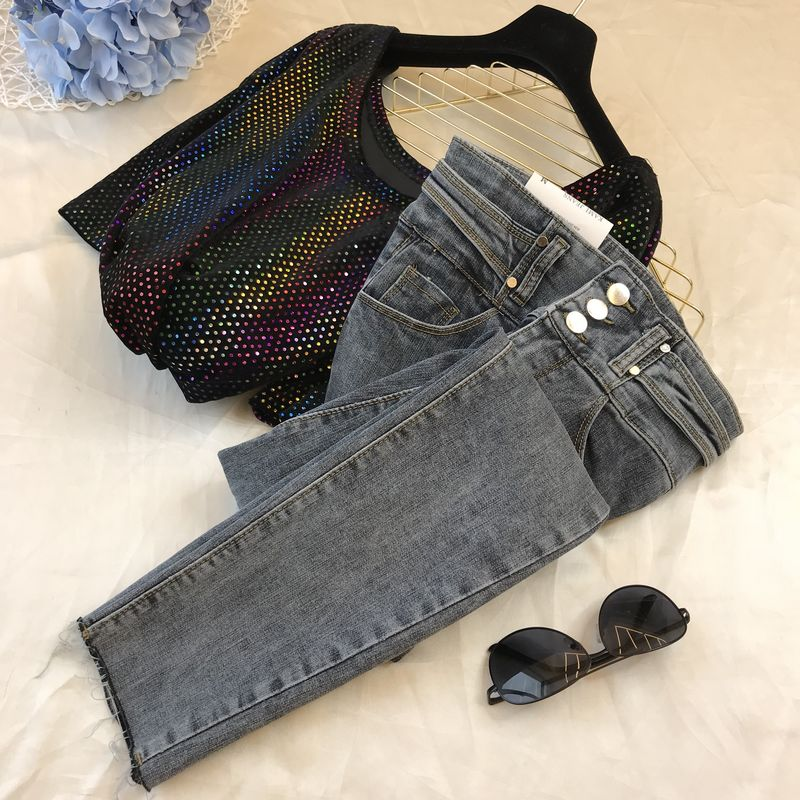 Denim Jean Pants Woman 2020 Spring New Korean-Style Ins Temperament High-Waist Side Belt Stretch Slim-Fit Jeans Ropa Mujer