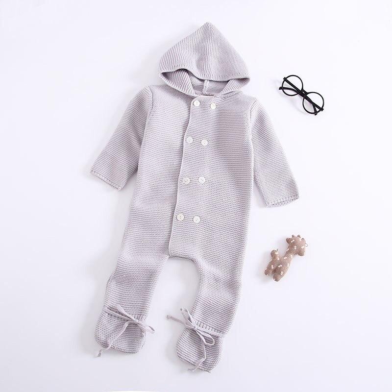Automne et hiver nouveau coton garçons et filles vêtements bébé siamois enfants pull barboteuse col de fourrure vêtements
