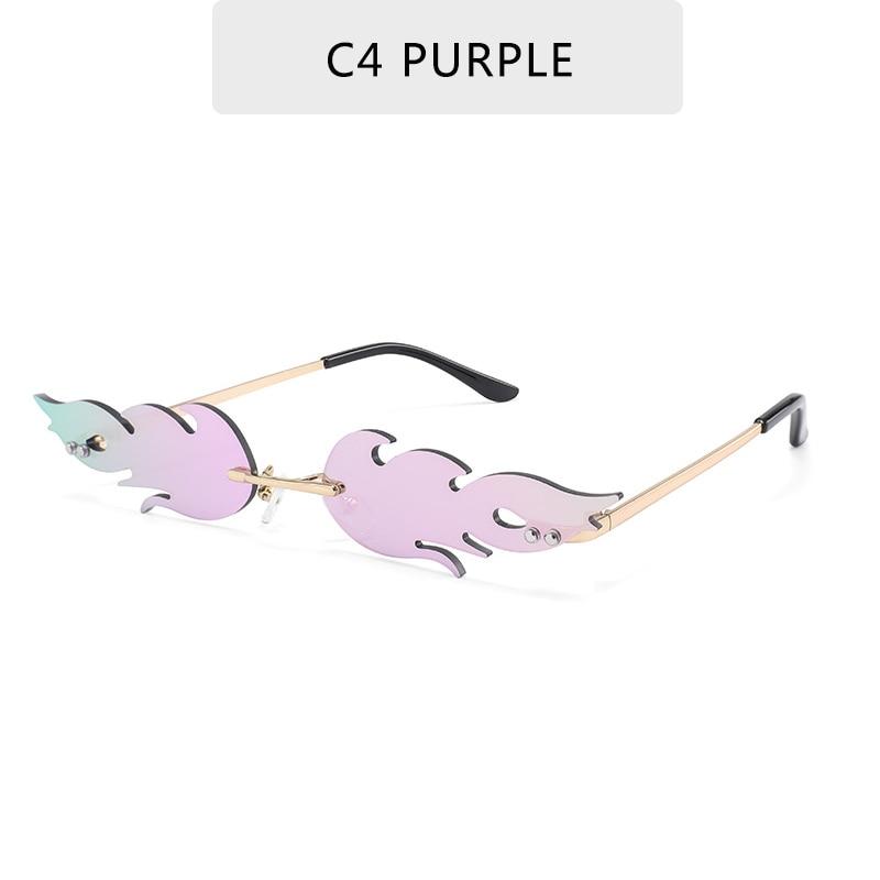 Luxury Fashion Fire Flame Sunglasses Women  Rimless Wave Sun Glasses Metal Shades For Vintage Women Mirror Eyewear UV400 11