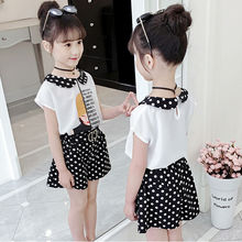 Girls Clothing Set Summer Cute printed T-shirt + dot shorts Kids Suit Toddler Baby Girl Clothes Outfits Kids Suit 8 10 12 Years korean girl fashion summer letter printed kids petal sleeves t shirt shorts suits pretty girl clothes