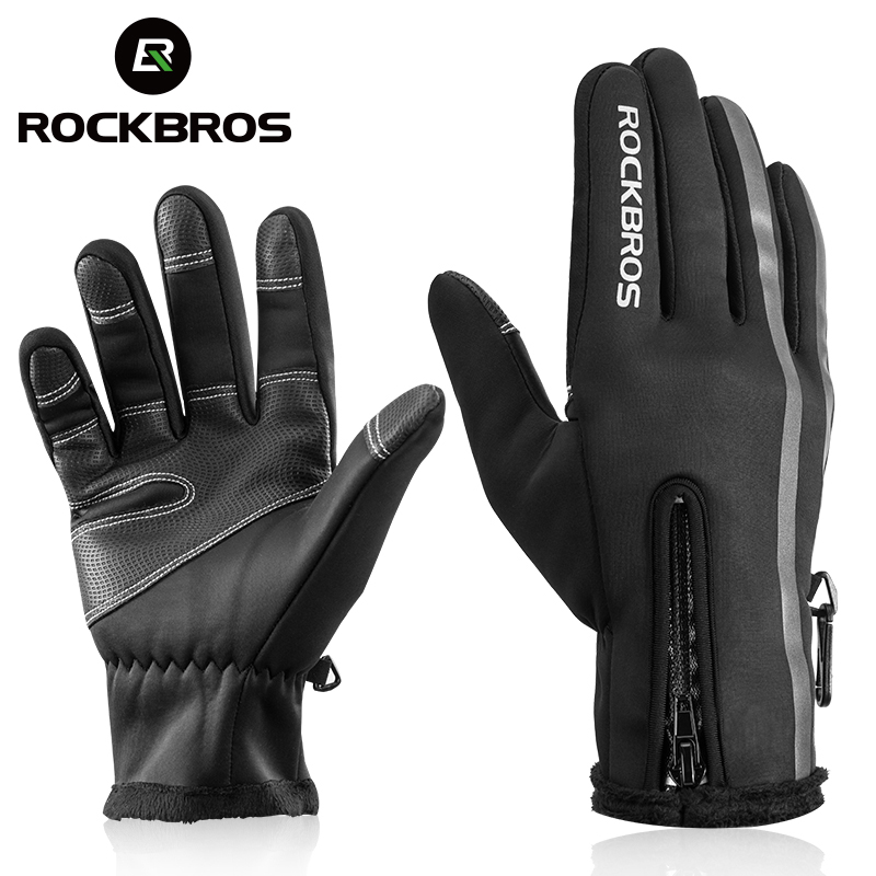 ROCKBROS Touch Screen Bike Gloves Winter Thermal Windproof Warm Full Finger Cycling Glove Anti-slip Bicycle Gloves For Men Women