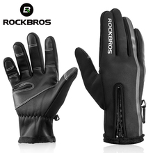 ROCKBROS Touch Screen Bike Gloves Winter Thermal Windproof Warm Full Finger Cycling Glove Anti slip Bicycle Gloves For Men Women