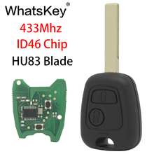 WhatsKey 2 Buttons 433Mhz Remote Car Key For Peugeot 307 407 Partner Citroen C1 C2 C3 VA2/HU83 blade With ID46 PCF7961 chip keyyou car remote control key 2 buttons 433mhz for peugeot 207 307 car keyless fob pcf7961 chip hu83 blade