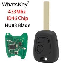 Thinkey chave remota de carro, botões 433mhz para peugeot 307 407 partner citroen c1 c2 c3 va2/hu83 lâmina com chip id46 pcf7961,