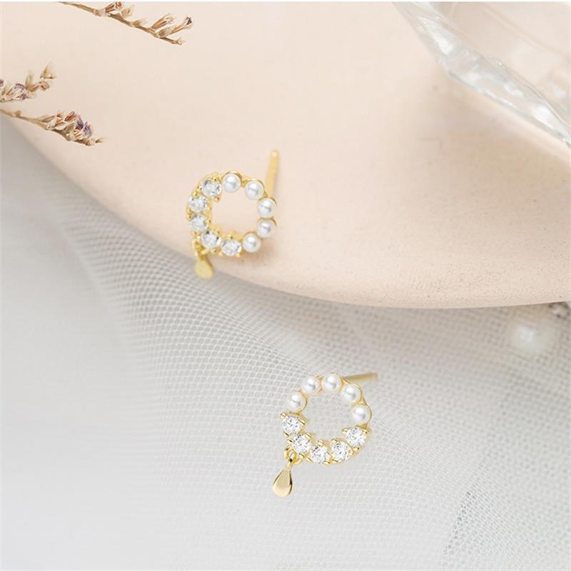 Louleur 925 Sterling Silver Pearl Circle Earrings Elegant Zircon Water Drop Gold Party Earrings For Women Wedding Jewelry Gifts in Earrings from Jewelry Accessories