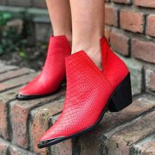 Women Winter Boots Slip-On Women Causal Ankle Boots Platform Shoes Woman Square Heel Pointed Toe Squama Short Boots Ladies Shoes недорого