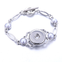 New Snap Jewelry Imitation pearls 18mm Button Bracelet for Women Men Fit Silver Bangle