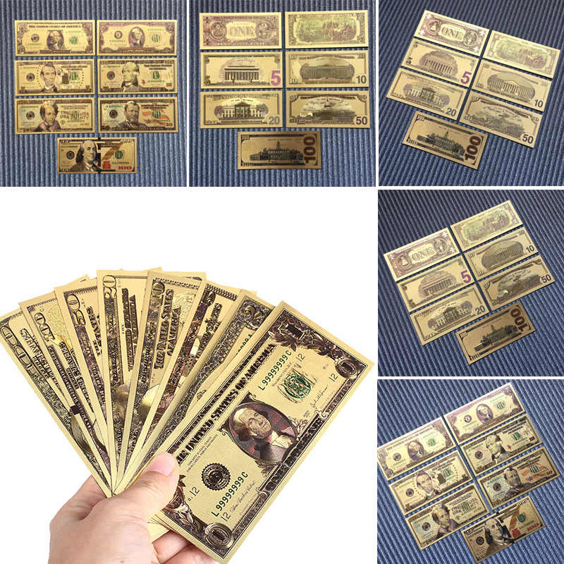 7pcs/set 24K Gold Plated Dollars Commemorative Notes Gold High Quality Banknotes Gifts Souvenir Collection Home Decorations