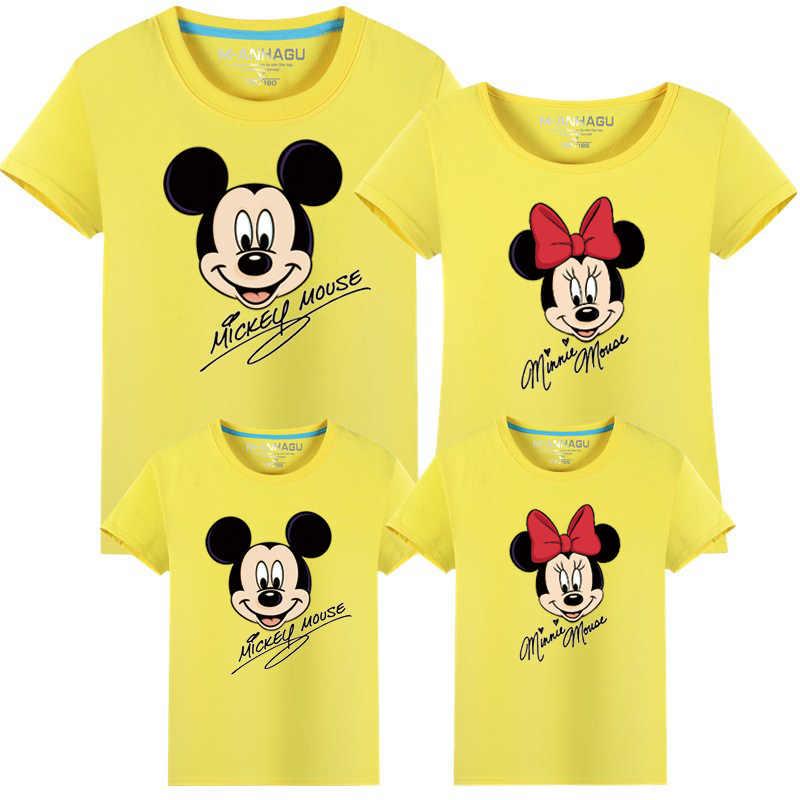 ครอบครัวเสื้อผ้าแฟชั่นแม่ลูกสาวพ่อลูกชายครอบครัวดูตรงกับเสื้อยืด Minnie Mickey เมาส์เสื้อครอบครัวฤดูร้อนชุด