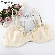 Trufeeling sexy renda perspectiva sutiã lingerie feminina underwire bordado floral bralette plus size d dd e 90 95 100 105 110 115
