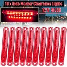 Аксессуары для грузовиков 10Х Красный 9 светодиодный герметичный боковой зазор габаритный фонарь для грузовик прицеп автобус задний 12В