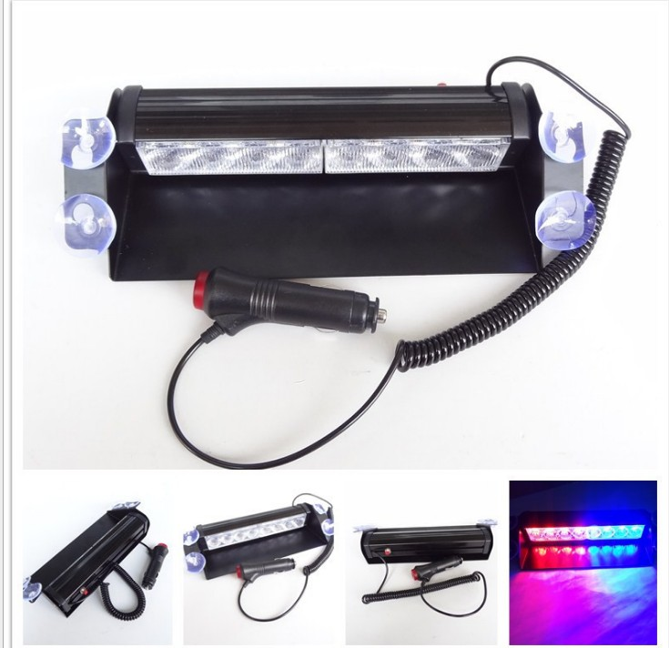Color Car Truck Emergency Flasher Dash Strobe Warning Light Day Running Flash Led Police Lights 8 LEDs 3 Flashing Modes 12V
